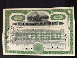 Vintage 1928 Missouri Kansas Texas Railroad Company Certificate