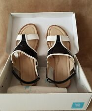 Elephantito Girl's Black White Leather Ankle Strap Sandals Size - US 6 or EU 37