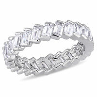 Amour Sterling Silver Baguette-Cut Cubic Zirconia Full-Eternity Band
