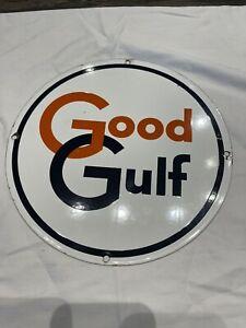 Vintage Good Gulf Round Porcelain Gas Pump Sign Gas Oil