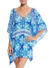 NWT La Blanca swimsuit bikini Cover Up Tunic Dress Sz L XL True Blue Caftan