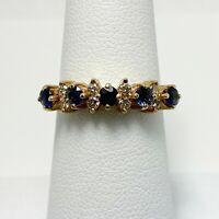 Genuine Sapphire Diamond 14k Gold Anniversary Ring (5125)