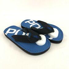Polo Ralph Lauren Toddler Boys Flip Flop Sandals Slides Fabric Black Blue 11