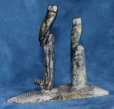Vintage Signed R THOMAS Inuit Eskimo Northwest Coast Alaska Stone OWL Carving
