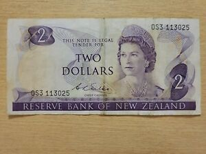 🇳🇿 New Zealand 2 dollars 1968  P-168b  WILKS   Currency Banknote 072821-7