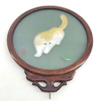 "Vtg 8.5"" Chinese Double Sided Silk Embroidery Art Cat and Cricket, Swivel Frame"