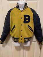 Vintage Old School Men's Varsity Letterman Jacket Distressed Leather Cotton M/L