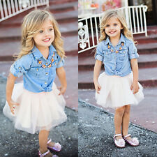 Kids Girl Summer Demin T shirt Tops+Skirt Dress Family Clothes Outfits Set 110
