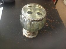 vintage resin toothbrush holder with metallic accents