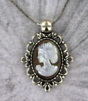 VINTAGE BLACK MOTHER OF PEARL  CAMEO PENDANT  NECKLACE  SILVER  PLATED SETTING