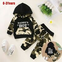 Newborn Infant Baby Boy Letter Hoodie T Shirt Tops+ Camouflage Pants Outfits Set