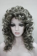 Beautiful brown root mix with gray tip curly women' 50cm long wig synthetic hair