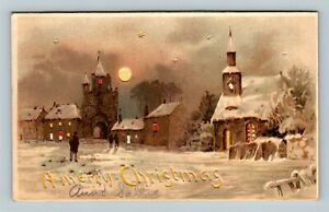 Christmas Greeting - HTL Hold to Light  - Winter Snow Town - Vintage Postcard