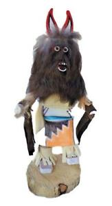"""Kachina Hopi Carved Wood Doll Sculpture """"Wolf'' Signed Beautiful Piece"""