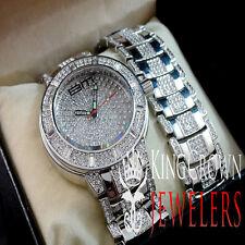 Ice Master Lab Diamond 14k White Gold Finish King Bling Jojo Watch Bracelet Set