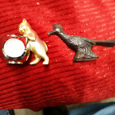 vintage miniature cat with Elgin clock figurines Fish minute hand that moves