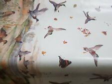 British Wildlife Birds Butterflies Vinyl Tablecloth Wipe Clean  140CM Wide