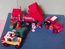 Lego-- Baustellenfahrzeuge--Mit Arbeitern-Stapler-Raupe--4 Stück--Konvolut- Rot
