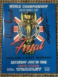 1966 World Cup Final Programme Reprint Signed By Geoff Hurst & Martin Peters (4)