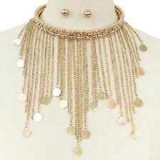 Chunky Gold Bohemian Metal Coin & Dangle Chain Choker Statement Necklace Set