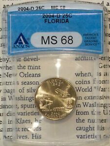 2004-D 25C Florida State Quarter MS 68 ANACS # 1506663 + Bonus Incredible Coin