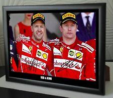 """Sebastian Vettel & Kimi Raikkonen F1 Ferrari  Framed Canvas Print Signed """"Gift"""""""