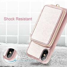 iPhone Xs Max Wallet Case Leather Zipper Pocket Credit Card Holder Slot Pink New