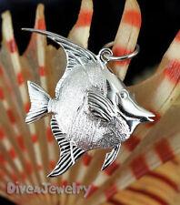 SOLID 925 STERLING SILVER ☣ 3D Moorish Idol FISH Marine tropical reef Necklace