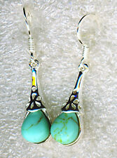 925 Sterling Silver turquoise long teardrop shaped earrings 1.1/4""