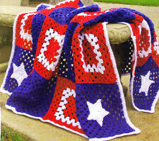 PATRIOTIC Granny Square Afghan/CROCHET PATTERN INSTRUCTIONS