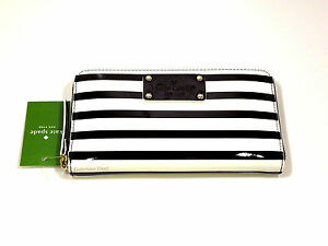 New! Kate Spade Pasadena Neda Black & Ice Stripe Zip Around Wallet WLRU1297