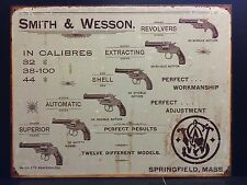 SMITH & WESSON 6 Revolvers TIN SIGN vtg Gun Western Rustic Metal Wall Decor