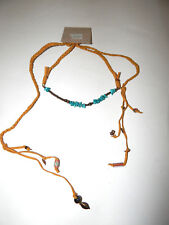 FREE PEOPLE NECKLACE RAWHIDE TURQUOISE BEADS ADJUSTABLE CHOKER LONG LENGTH #408