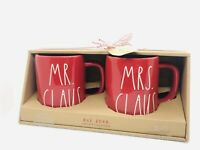 Rae Dunn Christmas By Magenta MR. CLAUS and MRS. CLAUS  LL Red Mug, Set of 2