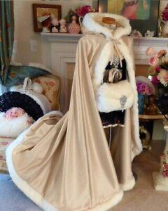 Medieval Wedding Bridal Cape Satin with Fur Trim Wedding Cloak Wraps Hood Cape
