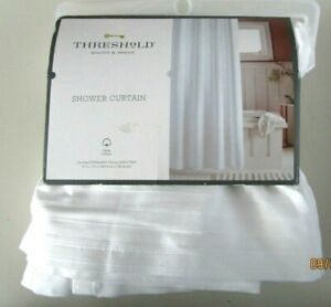 "SHOWER CURTAIN...72"" X 72"".. 100 % COTTON...WHITE WOVER STRIPE"