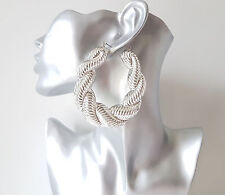 Gorgeous HUGE SILVER tone chunky twisted creole hoop earrings * Improved quality