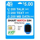 Jolt Mobile $5 Smartwatch SIM Card 5G 4G LTE Kids Senior Smart Watch Plan AT&T