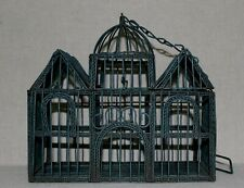 New listing Vintage Unique Hard Metal Wired Twisted Green Bird House Cage, Domed Decor