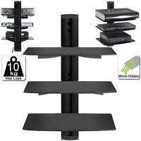 3 Tier Black Floating DVD Player Glass Shelf Game Console Sky, DVR PS4 PREBUILT