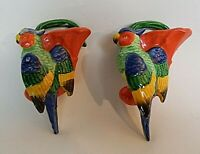 Vintage Pair of Wall Pockets Occupied Japan 1945-51 Parrots on Cornucopia Basket