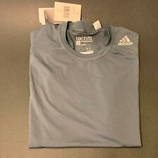 Adidas Mens Training Techfit Compression Base T-shirt - Large, Gray, New w Tags