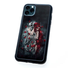 Gothic Red Hair Woman Skull Skeleton Rose Silicone TPU Rubber Phone Case Cover
