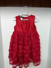 Gorgeous Holiday Editions Red Sequined Full Skirt 3-D Christmas Dress Sz 3T Euc