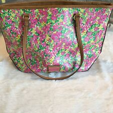 Nine West Pink Floral Purse Hand Bag Brown Faux Leather Pink Lined Pockets 16x10