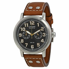 New Citizen Avion Multi-Function Eco Drive Brown Leather Mens Watch AO9030-05E