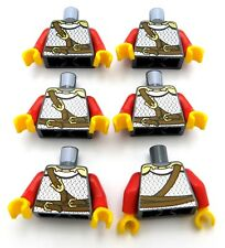 LEGO LOT OF 6 CASTLE KINGDOMS TORSOS SCALES ARMOR AND BUCKLES KNIGHT PATTERN