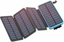 25000mAh Solar Charger IXNINE Solar Power Bank with 4 Solar Panels Phone Charger