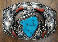 Navajo Felix Joe Sterling Silver .925 Belt Buckle Bear Claws Musem Quality Heavy