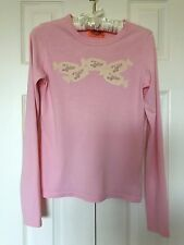 """~Made USA~ JUICY COUTURE""""CANDY Velvet Wrap""""Pink LONG SLEEVE Tee Top T-SHIRT sz S"""